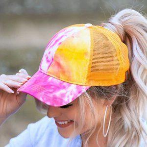 Orange Tie Dye C.C Ponytail Messy Bun Cap